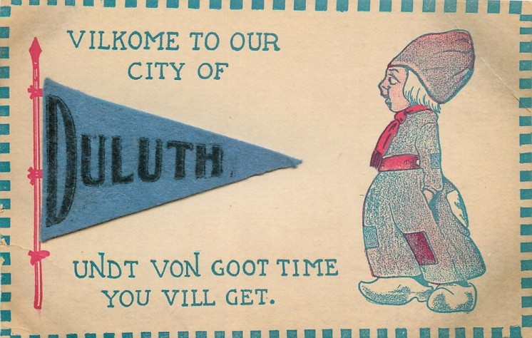 Vilkome to our city of Duluth postcard